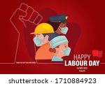 happy labour day 2020. 1st may. ... | Shutterstock .eps vector #1710884923