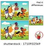 bull and pony in jockey caps.... | Shutterstock .eps vector #1710932569