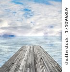 wooden pier on sunny day with... | Shutterstock . vector #171096809