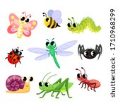 Cute Insects Cartoon. Butterfl...