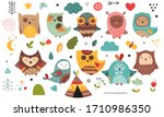 Cute Scandinavian Owls. Hand...