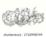 vector image. decorative floral ...   Shutterstock .eps vector #1710998749