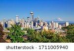 Seattle Skyline And Mt Rainier...