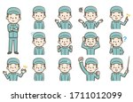 pose set of a male worker... | Shutterstock .eps vector #1711012099