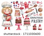 Cute Girl Pastry Chef And...