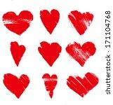 vector grunge hearts | Shutterstock .eps vector #171104768