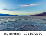 Badwater Basin At Sunset. Salt...