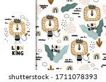 cute cartoon little lion king... | Shutterstock .eps vector #1711078393