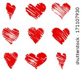 hand drawn hearts. vector set | Shutterstock .eps vector #171107930