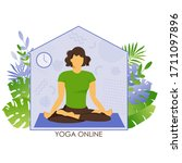the girl practices yoga at home....   Shutterstock .eps vector #1711097896