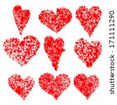 vector set grunge hearts | Shutterstock .eps vector #171111290