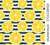 seamless lemon slices pattern   ... | Shutterstock .eps vector #1711118410