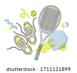 tennis racket and shoes hand...   Shutterstock .eps vector #1711121899