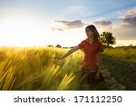 girl on wheat fieald | Shutterstock . vector #171112250
