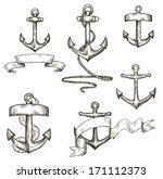 set of hand drawn anchors and... | Shutterstock .eps vector #171112373