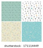 set of four floral seamless... | Shutterstock .eps vector #171114449