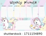 weekly calendar planner with... | Shutterstock .eps vector #1711154890