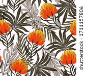 botanical seamless tropical... | Shutterstock .eps vector #1711157806