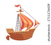 old sea ship with sails and... | Shutterstock .eps vector #1711176439
