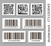 Set Of Barcode Stickers. Qr...