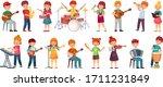 cartoon kids play music.... | Shutterstock .eps vector #1711231849