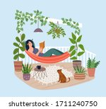 young woman relaxing in hammock ... | Shutterstock .eps vector #1711240750