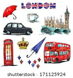 london symbols. set of drawings. | Shutterstock . vector #171125924