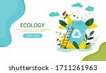 ecology concept. people take... | Shutterstock .eps vector #1711261963