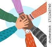 hands of diverse group of... | Shutterstock .eps vector #1711263760