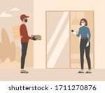 contactless delivery  a courier ... | Shutterstock .eps vector #1711270876