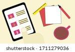 smart phone tablet on desk ... | Shutterstock .eps vector #1711279036