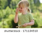 a three year old girl plays... | Shutterstock . vector #171134510