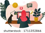 working from home   a woman... | Shutterstock .eps vector #1711352866