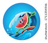 watermelon surf for summer beach | Shutterstock .eps vector #1711354546
