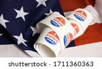 Small photo of I voted today stickers with US flag at presidential elections