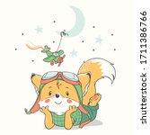 vector illustration of a cute... | Shutterstock .eps vector #1711386766