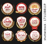 retro vintage gold and red... | Shutterstock . vector #1711388119