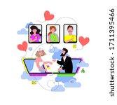online wedding ceremony with... | Shutterstock .eps vector #1711395466