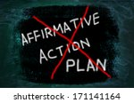 Small photo of Affirmative Action Plan words written on grunge background