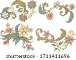 abstract floral vector with... | Shutterstock .eps vector #1711411696