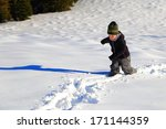 Small Boy Walking The Mountain...