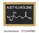 Small photo of chemical formula of acetylcholine on a blackboard