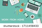 work from home concept on top... | Shutterstock .eps vector #1711458433