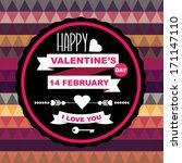 valentine's day poster... | Shutterstock .eps vector #171147110