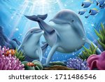 dolphin family playing together ... | Shutterstock .eps vector #1711486546