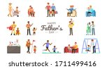 set of happy father and son... | Shutterstock .eps vector #1711499416