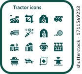 Tractor Icon Set. 16 Filled...