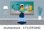 the girl in the office is... | Shutterstock .eps vector #1711591840