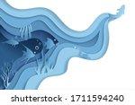 paper craft underwater sea cave ... | Shutterstock .eps vector #1711594240