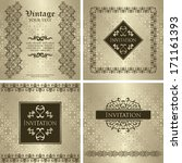 set of vintage invitations.... | Shutterstock .eps vector #171161393